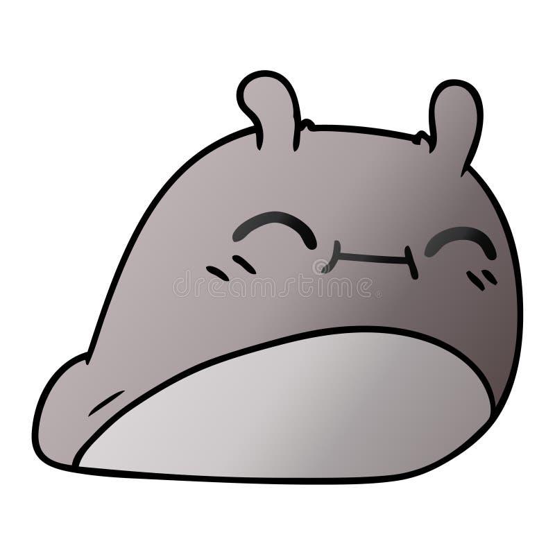 A creative gradient cartoon of a happy kawaii slug. An original creative gradient cartoon of a happy kawaii slug stock illustration