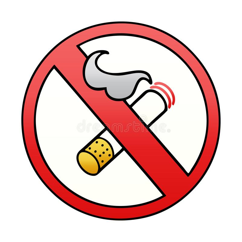 Gradient Shaded Cartoon Of A No Smoking Allowed Sign Stock Vector Illustration Of Cigarette Artwork 150427099