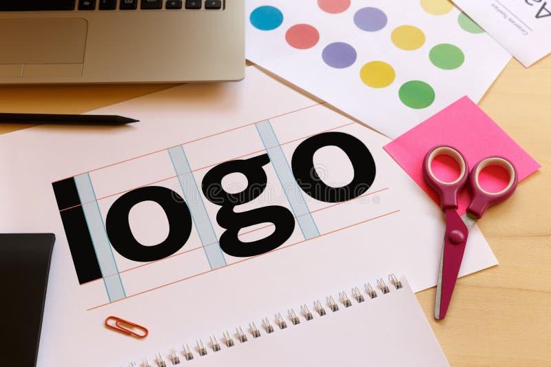 Creative graphic designer desk stock image