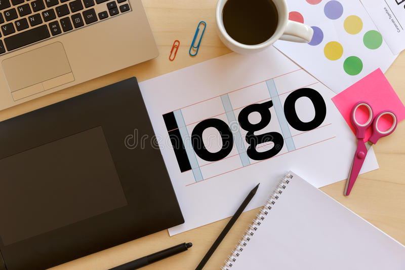 Creative graphic designer desk royalty free stock photos