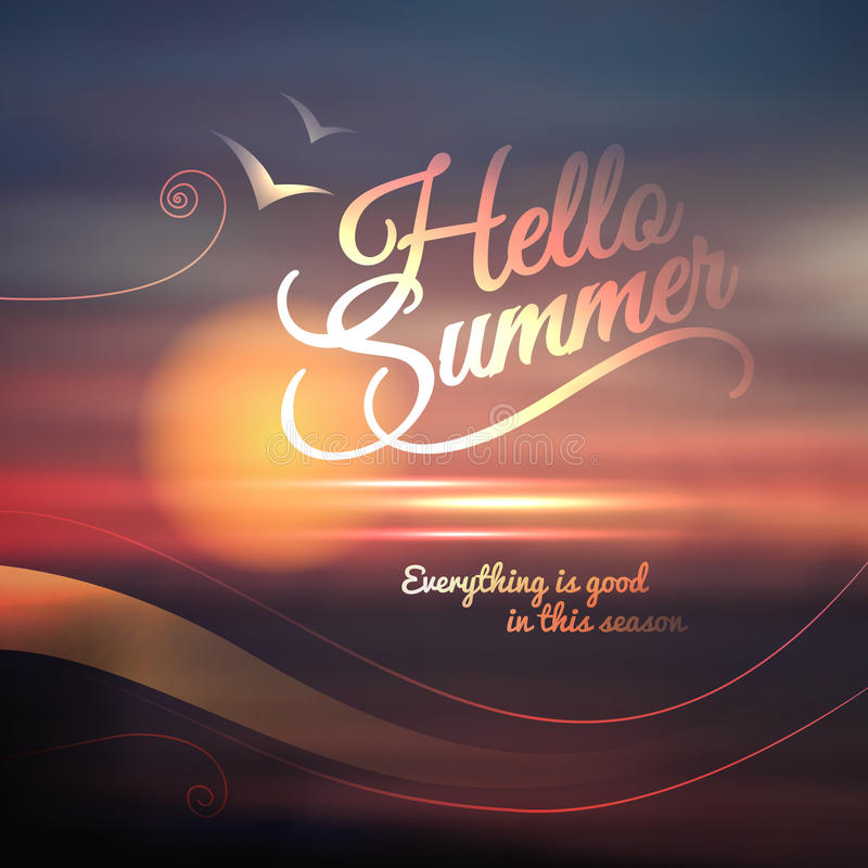 Creative graphic message for your summer design. Vector blurred background royalty free illustration