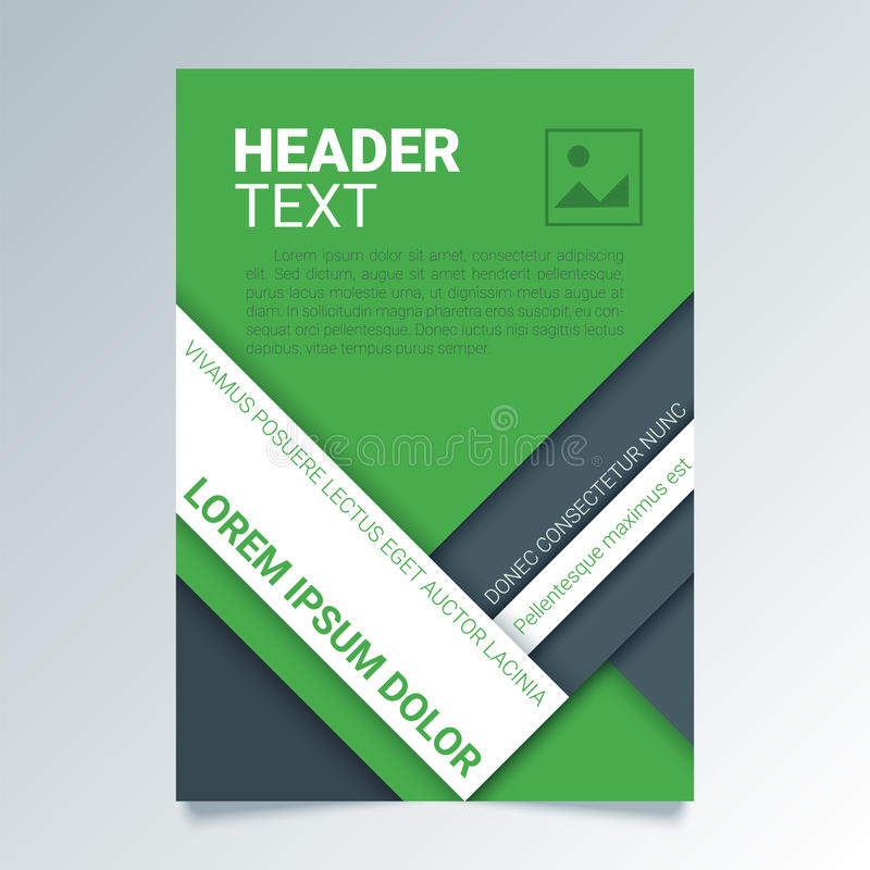 Creative green flyer vector template in A4 size. Modern poster, brochure business template in a material design style. stock illustration