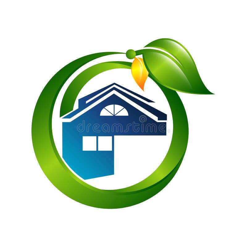 Creative Green House Concept Logo Design Template royalty free illustration
