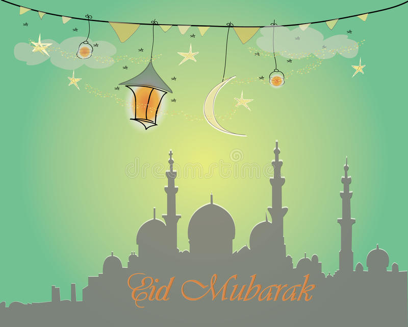 Creative greeting card design for holy month of muslim community festival Eid Mubarak with moon and hanging lantern vector illustration