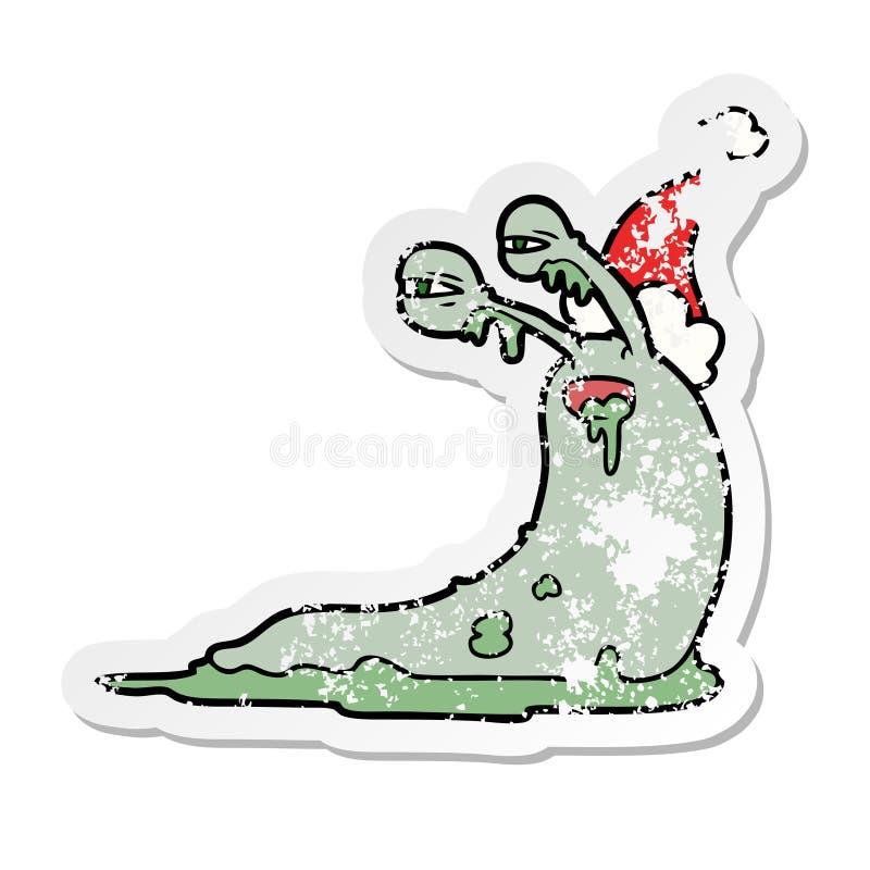 A creative gross distressed sticker cartoon of a slug wearing santa hat. An original creative gross distressed sticker cartoon of a slug wearing santa hat vector illustration