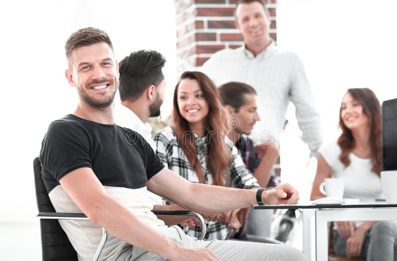 Creative group of young people in the office royalty free stock photos