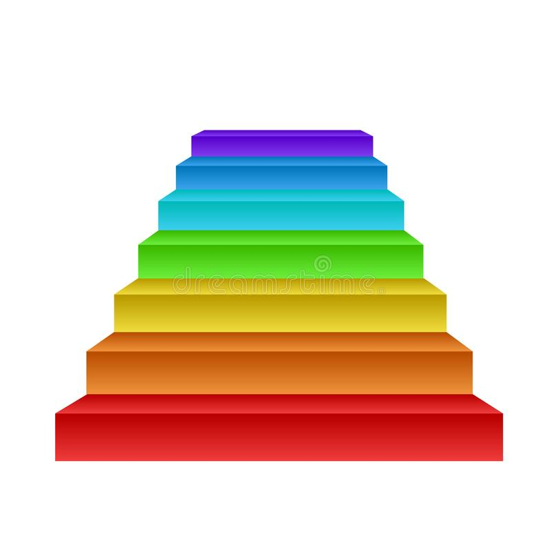 Creative growth concept, rainbow stairs on white, stock vector i vector illustration