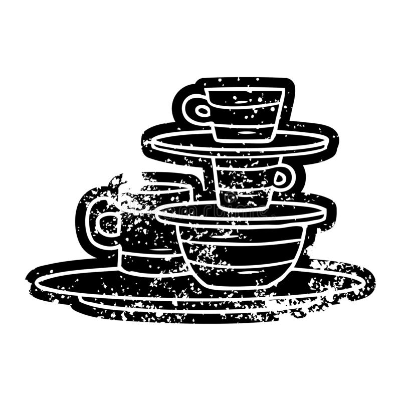 A creative grunge icon drawing of colourful bowls and plates. An original creative grunge icon drawing of colourful bowls and plates vector illustration