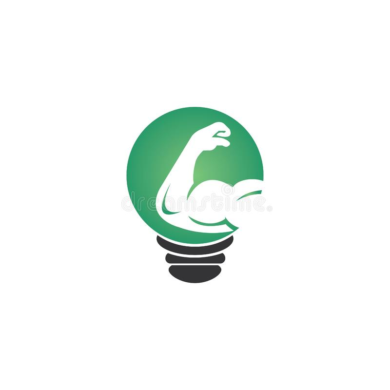 Creative gym  logo design. Bicep and bulb lamp icon logo. Fitness  logo design template. Logo template with the image of a muscular arm royalty free illustration