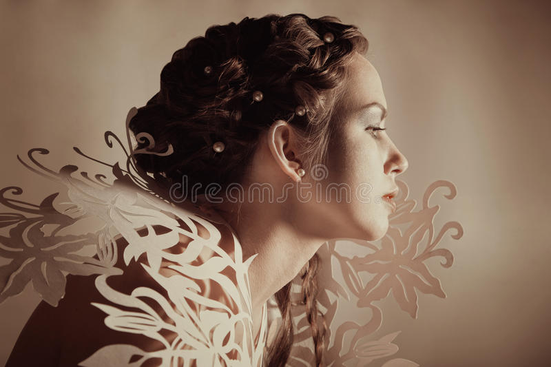 Creative hairdo and makeup royalty free stock image