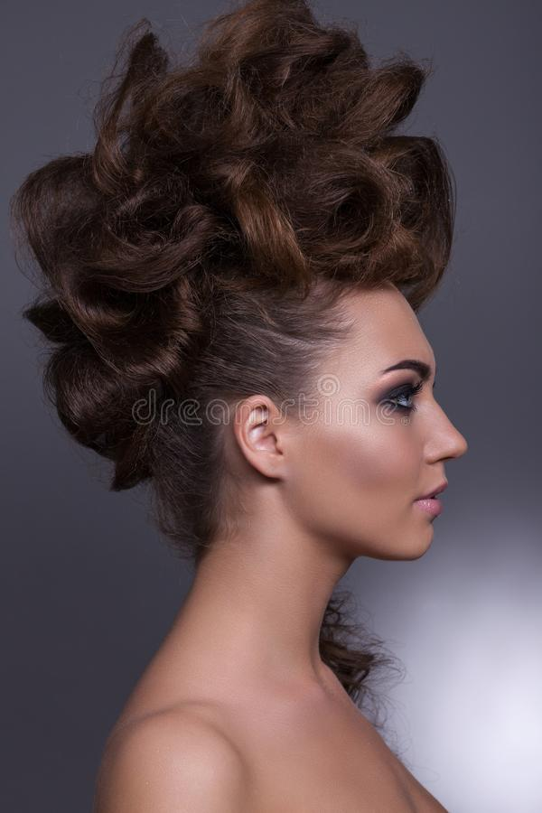 Creative hairstyle royalty free stock photo