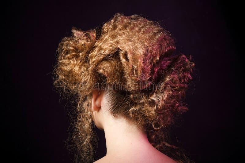 Creative hairstyle. Studio girl shoot. Creative hairstyle. Studio woman shoot stock photos
