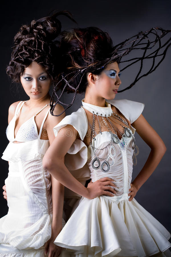 Creative Hairstyle Of Two Young Woman Stock Image