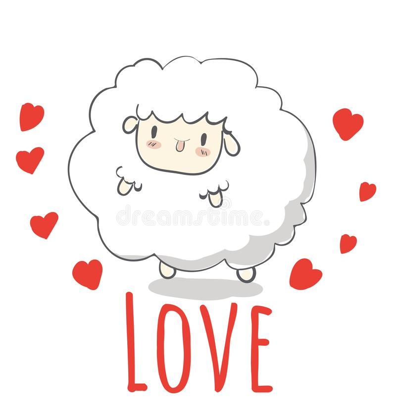 Creative hand drawn card Happy Valentine`s Day,cute cartoon,sheep, greeting card greeting card with heart card vector,elements,. Love,flyers, invitation,brochure vector illustration