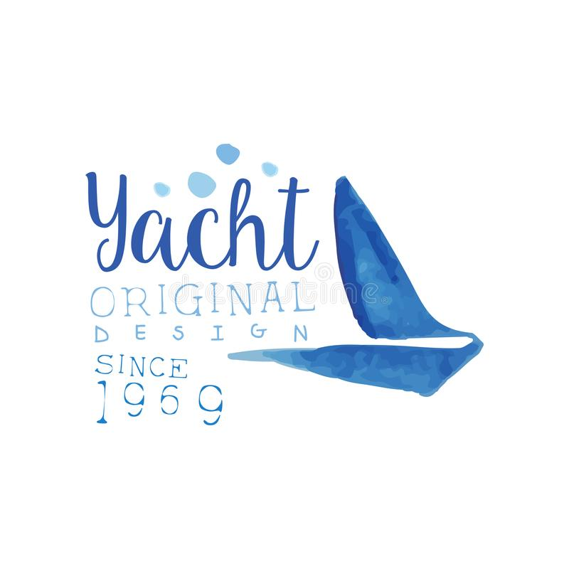 Creative hand drawn emblem with silhouette of sailboat. Sea and ocean theme. Vector design for yacht club logo, poster vector illustration