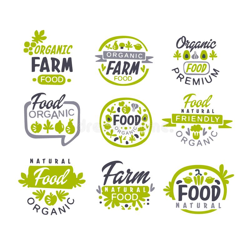 Creative hand drawn gray and green design of organic food logo set. Fresh farm products. Labels for shop or market. Creative hand drawn gray and green design of vector illustration