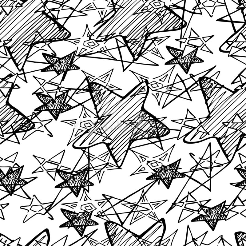 Hand Drawn Creative Vector Star Icons Seamless Pattern Isolated stock image
