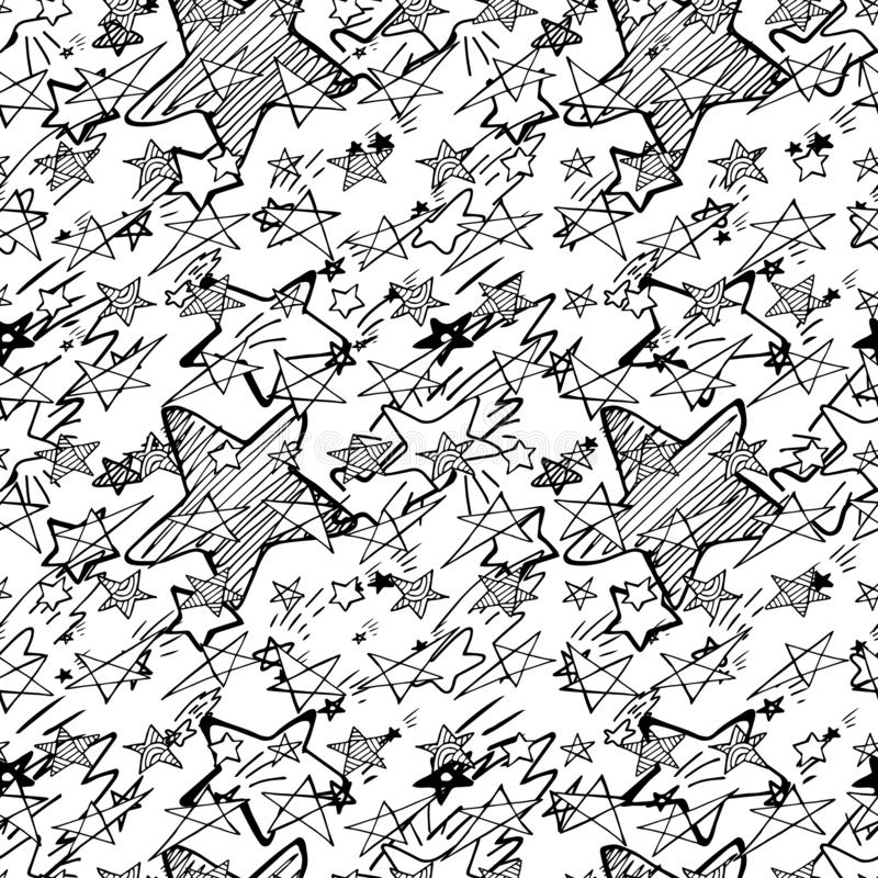 Hand Drawn Creative Vector Star Icons Seamless Pattern Isolated royalty free stock image