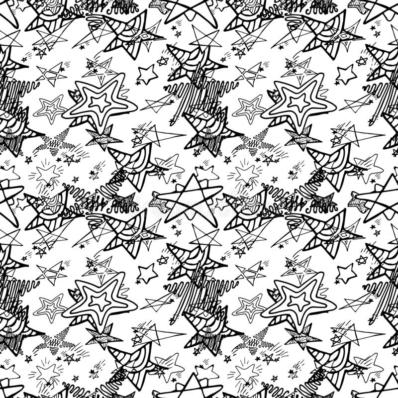 Hand Drawn Creative Vector Star Icons Seamless Pattern Isolated royalty free stock photos