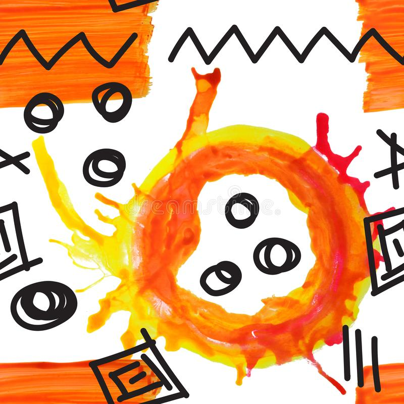 Creative Hand gemalt geometrisch farbenfrohe, saisonlose Muster Collage Design für Drucke, Poster, Karten lizenzfreie stockfotos