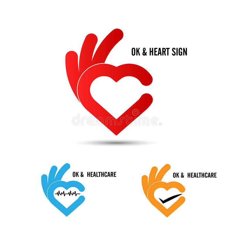 Creative hand and heart shape abstract logo design.Hand Ok symbol icon.Healthcare and medical icon. Happy Valentines day symbol. vector illustration