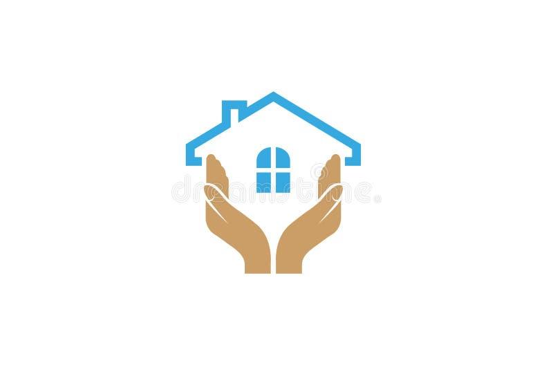 Creative Hand House Care Logo Design Vector Symbol Illustration. Creative Hand House Care Logo Design Vector Symbol royalty free illustration