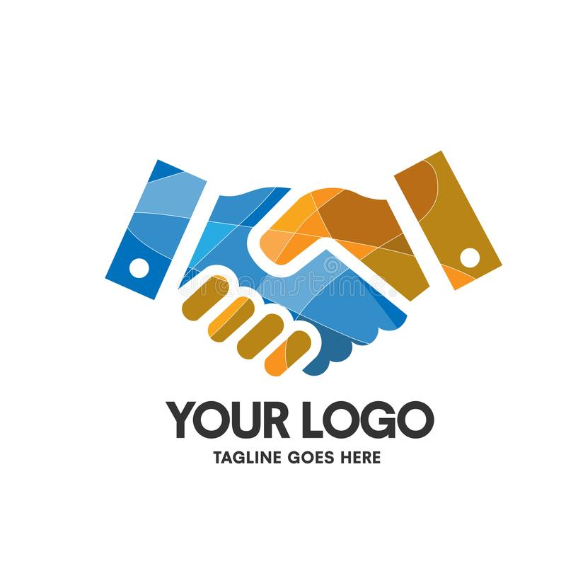 Creative hand shaking logo vector. Creative hand shaking colorful company symbol design concept stock illustration