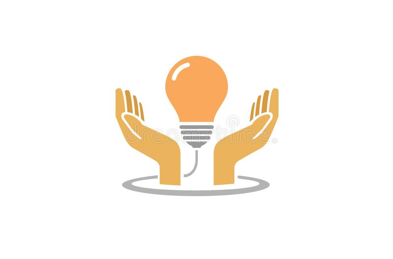 Creative Hands Protect Bulb Lamp Idea Logo. Design Symbol Illustration stock illustration