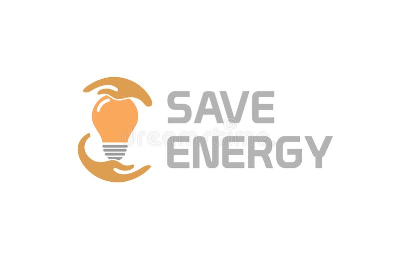 Creative Hands Protect Bulb Lamp Idea Save Energy Logo. Design Symbol Illustration royalty free illustration
