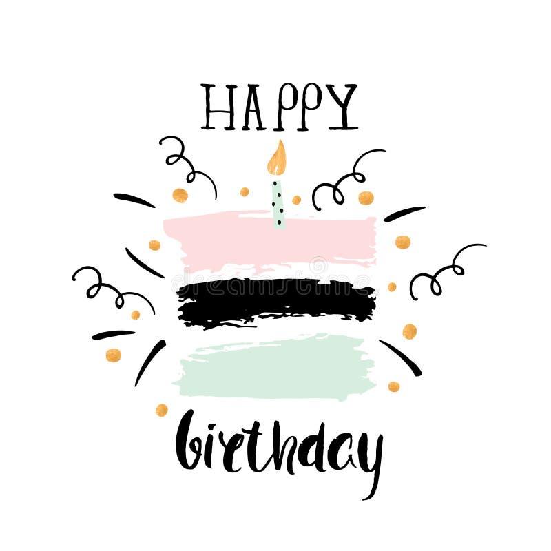 Creative Happy Birthday greeting background. Hand drawn ink borders, Vector Illustration vector illustration