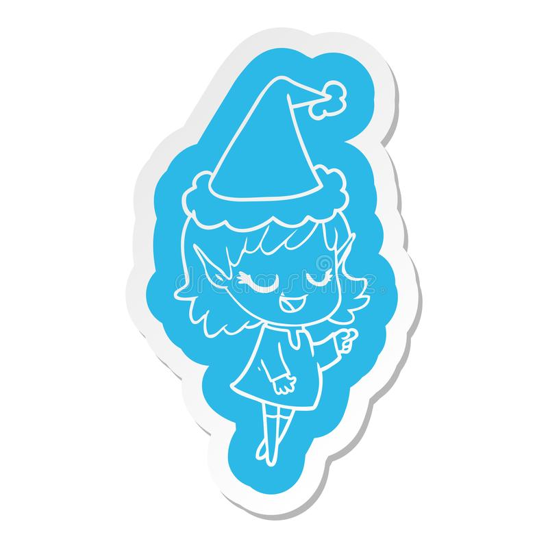 A creative happy cartoon  sticker of a elf girl pointing wearing santa hat stock illustration