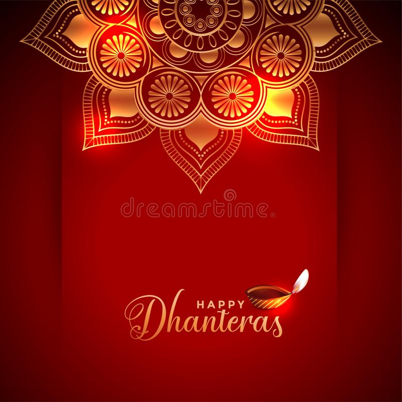 Creative happy dhanteras background with diya design. Vector stock illustration
