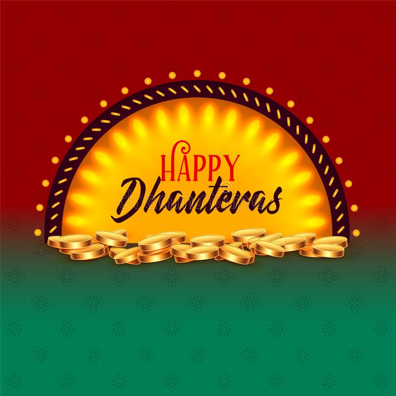 Creative happy dhanteras festival card greeting design background. Vector vector illustration