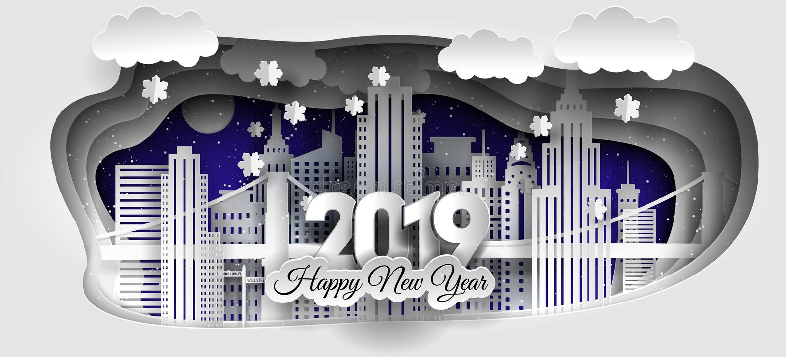Creative Happy Merry Christmas and New Year 2018/2019 design. Winter city stock illustration