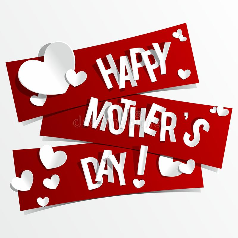 Free Creative Happy Mothers Day Card With Hearts On Rib Stock Photo - 34993030