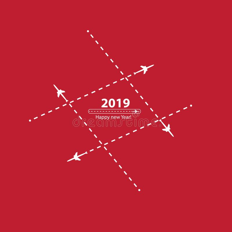 Creative happy new year 2019 design with Progress loading bar with airplane is in a dotted line. The flying apartment is. Black. The waypoint is for a tourist royalty free illustration