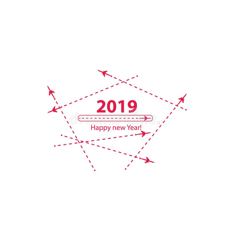 Creative happy new year 2019 design with Progress loading bar with airplane is in a dotted line. The flying apartment is. Black. The waypoint is for a tourist vector illustration