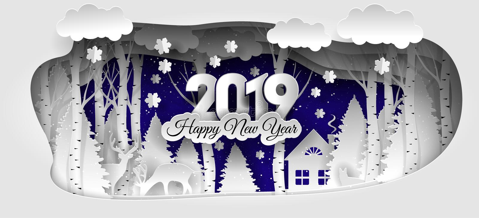 Creative happy new year 2019 design. Winter forest. Happy new year 2019. Paper art and craft style stock illustration