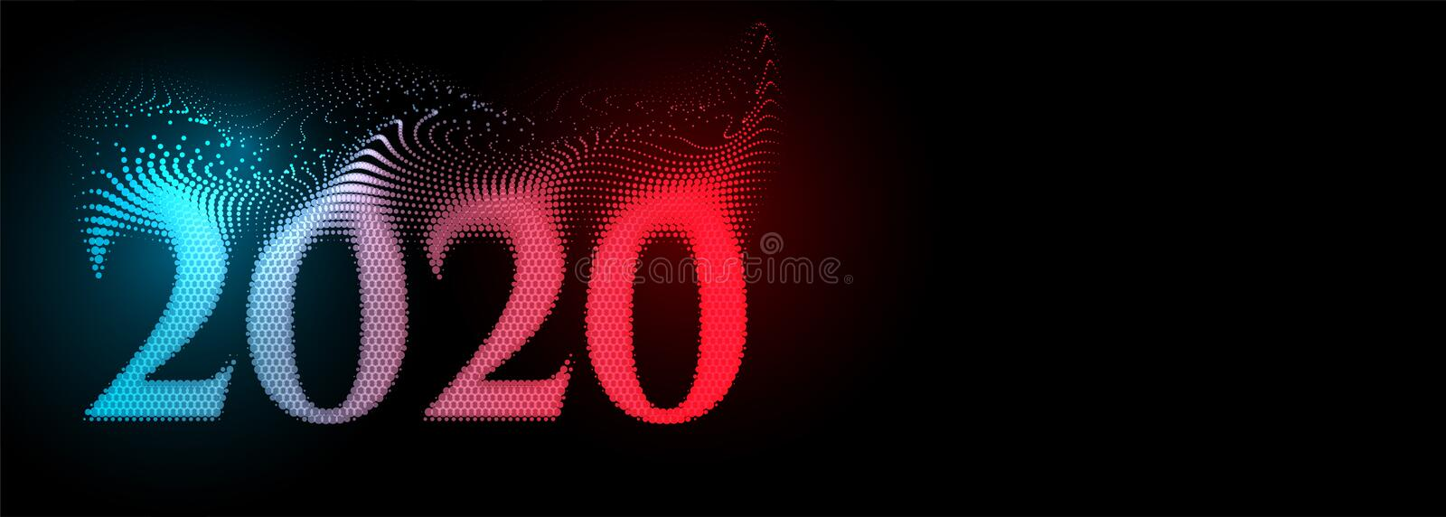 Creative 2020 happy new year text banner on black background. Vector royalty free illustration