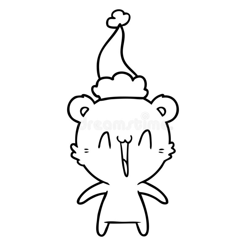 A creative happy polar bear line drawing of a wearing santa hat. An original creative happy polar bear line drawing of a wearing santa hat stock illustration