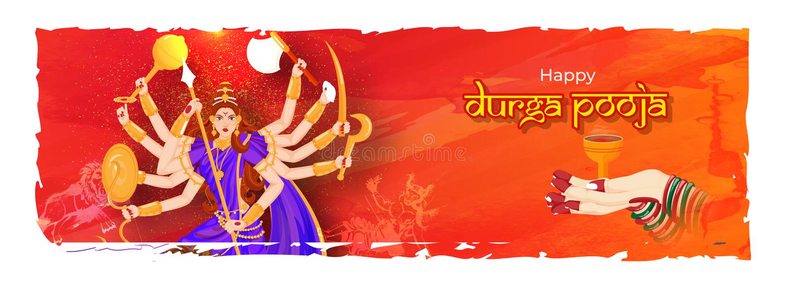 Creative header or banner design with illustration of Goddess Durga. Creative header or banner design with illustration of Goddess Durga and woman hand holding royalty free illustration