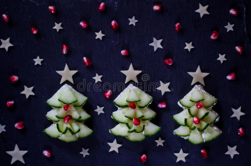 Creative, healthy Christmas snack for kids. Holiday breakfast . stock photography