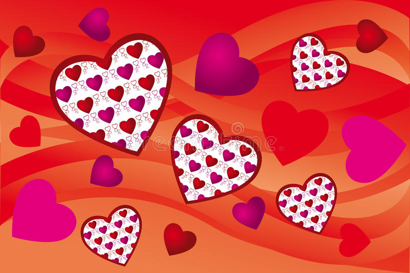 Creative hearts background. In various pink and red colors - vector illustration stock illustration