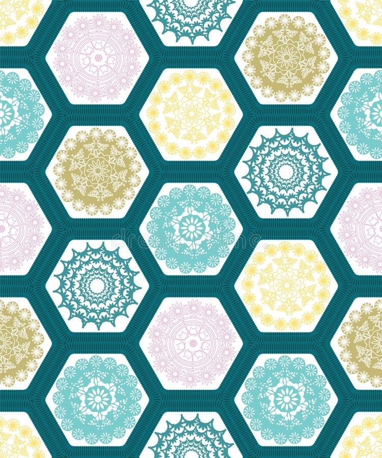 Creative hexagon doily crochet patchwork seamless pattern background design.Vector illustration. Creative hexagon doily crochet patchwork seamless pattern royalty free illustration