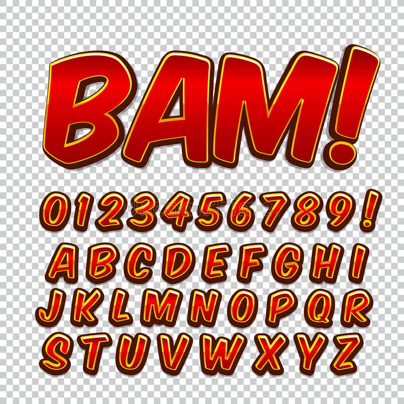 Creative high detail comic font. Alphabet of comics, pop art. Letters and figures for decoration of kids stock illustration