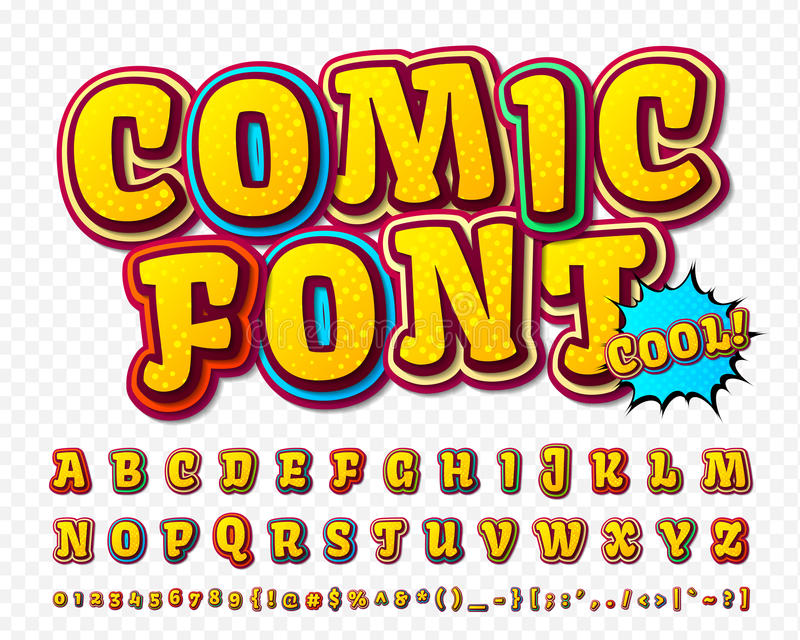 Creative high detail comic font. Alphabet, comics, pop art. royalty free illustration