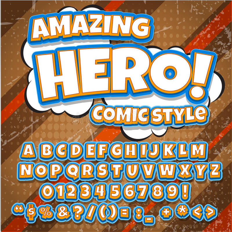 Creative high detail comic font. hero style of comics, pop art Letters and figures for decoration of kids' illustrations stock image