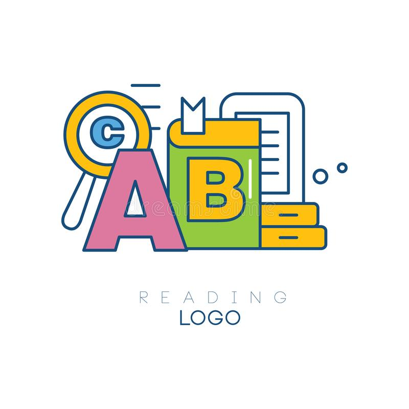 Creative hobby logo template. Reading concept. Letter A, book, magnifying glass, tablet. Educational learning sign royalty free illustration