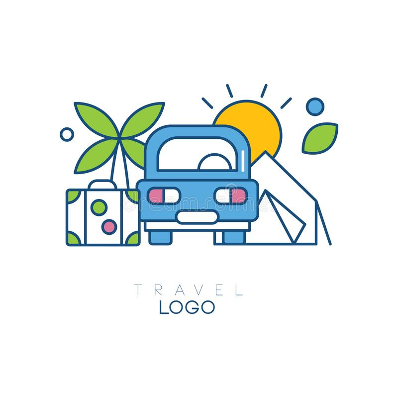 Creative hobby logo template for travel blog. Emblem with car, palm tree, sun and suitcase. Linear icon with blue, green vector illustration