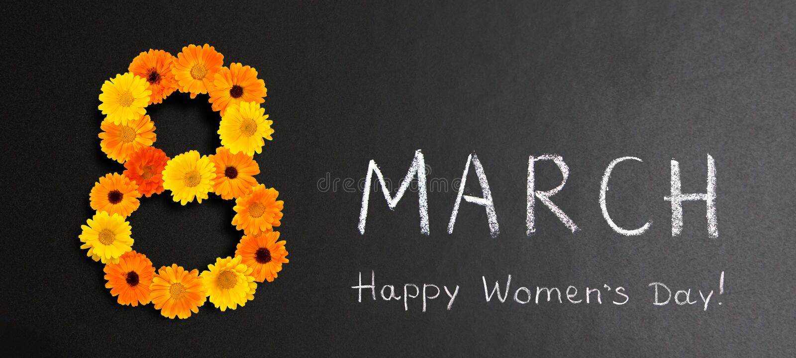 Creative Holiday poster 8 March Happy Women`s Day. Wide Angle Creative Holiday poster 8 March Happy Women`s Day. Number 8 of yellow and orange flowers and Text stock photo
